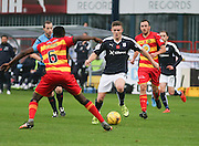 Dundee&rsquo;s Rhys Healy runs at Partick Thistle&rsquo;s Abdul Osman - Dundee v Partick Thistle, Ladbrokes Premiership at Dens Park<br /> <br />  - &copy; David Young - www.davidyoungphoto.co.uk - email: davidyoungphoto@gmail.com