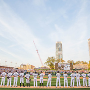 The Charlotte Knights line up on field for the first time uptown since the 1930's