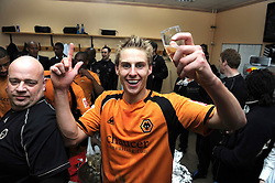 WOLVERHAMPTON, ENGLAND - Saturday, April 18, 2009: Wolverhampton Wanderers' Sam Vokes celebrates promotion to the Premier League after their 1-0 victory over Queens Park Rangers in the League Championship at Molineux Stadium. (Pic by Pool/Wolverhampton Wanderers Handout/Propaganda)