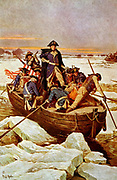 George Washington Crossing the Delware River', 25 December 1776.   An incident in the Revolutionary War 1775-1783 (American War of Independence)  when George Washington (1732-1799) was commander-in-chief of the American army. Illustration c1912.