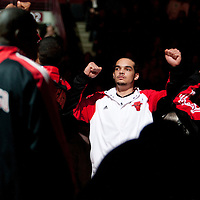 17 December 2009:  Chicago Bulls center Joakim Noah is seen during the players introduction prior to the Chicago Bulls 98-89 victory over the New York Knicks at the United Center, in Chicago, Illinois, USA.