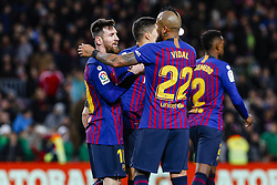 January 30, 2019 - Barcelona, Spain - FC Barcelona forward Lionel Messi (10) with his teammates of FC Barcelona celebrates after scoring the goal during the match FC Barcelona v Sevilla CF, for the round of 8, second leg of the Copa del Rey played at Camp Nou  on 30th January 2019 in Barcelona, Spain. (Credit Image: © Mikel Trigueros/NurPhoto via ZUMA Press)