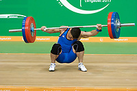 Ashgabat 2017 - 5th Asian Indoor & MartialArts Games 17-09-2017. Mens 92kg weightlifting - Omarguly Handurdyyew (TKM) competes in the snatch competition