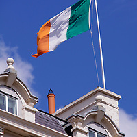 Europe, Ireland, Dublin. The national flag of Ireland.