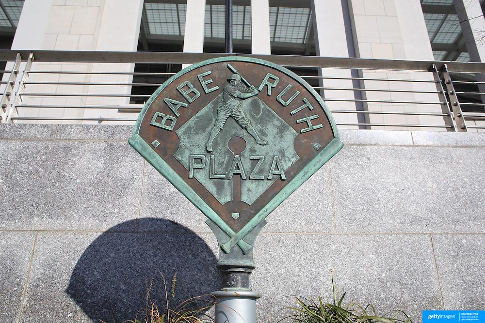The Babe Ruth Plaza sign outside Yankee Stadium, The Bronx, New York. Photo Tim Clayton