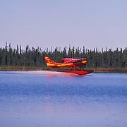 Sustina Air Service Float Plane Landing, Lake Kashwitna, Alaska USA