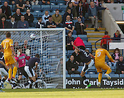 Michael Higdon heads home Motherwell's winner - Dundee v Motherwell, Clydesdale Bank Scottish Premier League at Dens Park.. - © David Young - 5 Foundry Place - Monifieth - DD5 4BB - Telephone 07765 252616 - email: davidyoungphoto@gmail.com - web: www.davidyoungphoto.co.uk
