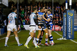 Bath Winger Matt Banahan celebrates with Full Back Anthony Watson and  Scrum-Half Chris Cook after  scoring a try - Photo mandatory by-line: Rogan Thomson/JMP - 07966 386802 - 12/12/2014 - SPORT - RUGBY UNION - Bath, England - The Recreation Ground - Bath Rugby v Montpellier Herault Rugby - European Rugby Champions Cup Pool 4.