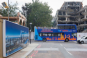 A skyline of London repeated on a development billboard and a tour bus, on 21st September 2016, in Waterloo, SE1, south London borough of Southwark, England UK