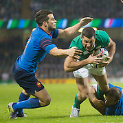 Cardiff, Wales, Great Britain, Rob KEARNEY, scoring the first try for Ireland in the second half during the Pool D game, France vs Ireland.  2015 Rugby World Cup,  Venue, Millennium Stadium, Cardiff. Wales   Sunday  11/10/2015.   [Mandatory Credit; Peter Spurrier/Intersport-images]