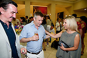 DARREN FLOOK; JAKE MILLER; SIGRID WILKINSON; , Tate Summer Party. Celebrating the opening of the  Fiona Banner. Harrier and Jaguar. Tate Britain. Annual Duveens Commission 29 June 2010. -DO NOT ARCHIVE-© Copyright Photograph by Dafydd Jones. 248 Clapham Rd. London SW9 0PZ. Tel 0207 820 0771. www.dafjones.com.