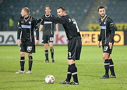 14.12.2011, UPC Arena, Graz, AUT, UEFA Europa League , Sturm Graz vs AEK Athen FC, im Bild Mario Haas (SK Puntigamer Sturm Graz, #7) mit Darko Bodul (SK Puntigamer Sturm Graz, #19) sowie Matthias Koch (SK Puntigamer Sturm Graz, #20) und Thomas Burgstaller (SK Puntigamer Sturm Graz, #13) // during UEFA Europa League football game between Sturm Graz and AEK Athens FC at UPC Arena in Graz, Austria on 14/12/2011. EXPA Pictures © 2011, PhotoCredit: EXPA/ E. Scheriau
