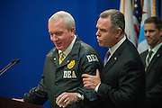 Chicago Police Superintendent Garry McCarthy introduces Jack Riley, special agent-in-charge of the Chicago field division of the DEA during their address to the media during a press conference Wednesday afternoon announcing the pre-dawn arrest of 33 individuals with alleged ties to the Imperial Insane Vice Lords. 10 defendants who allegedly directed or participated in the violent, drug trafficking gang were charged with federal racketeering conspiracy (RICO) indictment for their roles in a series of violent crimes including murder.<br /> | Michael R. Schmidt-For Sun-Times Media