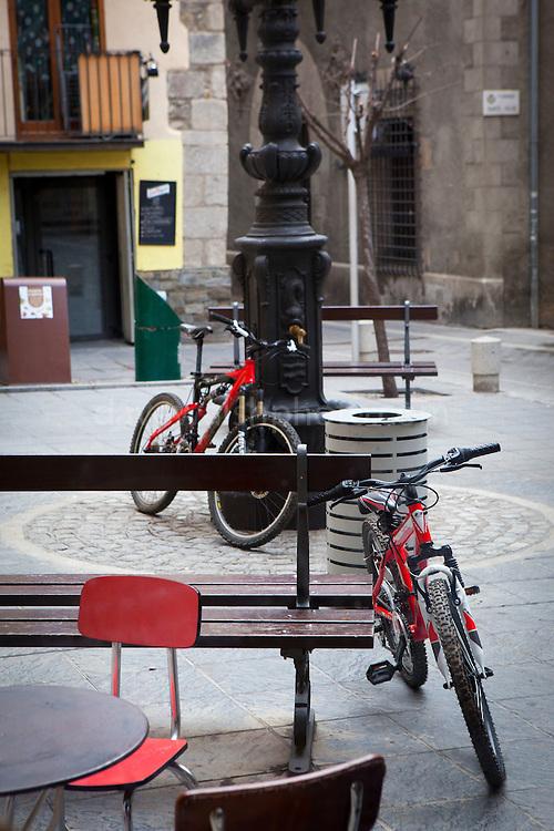 Red bicycles, Puigcerda, Catalonia. January 2014. (c) Dave Walsh