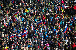 Slovenian fans during First round on Day 1 of FIS Ski Jumping World Cup Ladies Ljubno 2020, on February 22th, 2020 in Ljubno ob Savinji, Ljubno ob Savinji, Slovenia. Photo by Matic Ritonja / Sportida