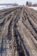 Photo Randy Vanderveen<br /> Sexsmith, Alberta, Canada<br /> 2017-03-20<br /> Driving on some of the county roads near Sexsmith, Alberta Monday it is easy to see why 50% axle weight road bans are in place in the County of Grande Prairie and on unpaved roads in the city limits. The thawing ground is very prone to damage by heavy vehicles at this time of year.
