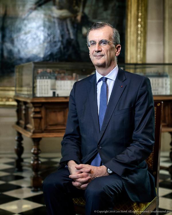 6  July  2017 &ndash; Paris, France<br /> Fran&ccedil;ois Villeroy de Galhau, the governor of Bank of France (Banque de France) poses for a portrait.