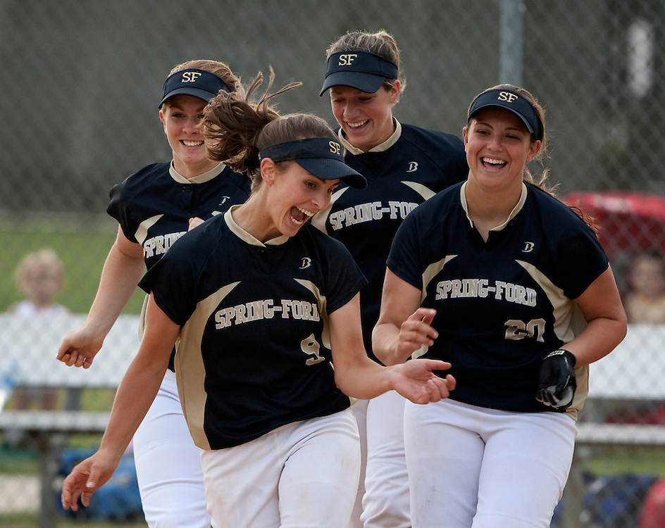 Class AAAA softball title Spring-Ford vs Central Bucks South at Plymouth Whitemarsh HS.. Spring-Ford beat CB South 4-2 In this photo, Alexis Karkoska, 9, front left,  Prena Keira, front right, and teammates celebrate their victory over CB South.(Ed Hille/ Staff Photographer) May 28, 2009 ssoft29 119396