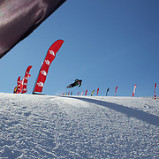 Cyrill Hunziker, Switzerland,  in action in the Halfpipe Finals during The North Face Freeski Open at Snow Park, Wanaka, New Zealand, 3rd September 2011. Photo Tim Clayton....
