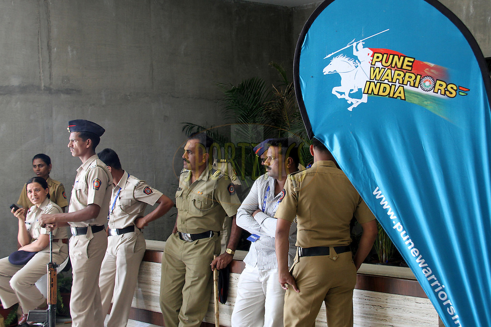 Security during match 31 of the the Indian Premier League ( IPL) 2012  between The Pune Warriors India and the Delhi Daredevils held at the Subrata Roy Sahara Stadium, Pune on the 24th April 2012..Photo by Prashant Bhoot/IPL/SPORTZPICS