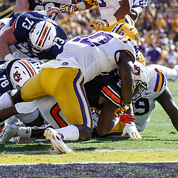 Oct 14, 2017; Baton Rouge, LA, USA; Auburn Tigers running back Kerryon Johnson (21) runs for a touchdown against the LSU Tigers during the second quarter of a game at Tiger Stadium. Mandatory Credit: Derick E. Hingle-USA TODAY Sports