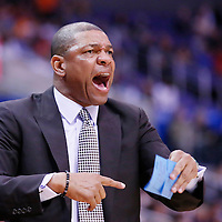 12 February 2014: Los Angeles Clippers head coach Doc Rivers is seen during the Los Angeles Clippers 122-117 victory over the Portland Trail Blazers at the Staples Center, Los Angeles, California, USA.