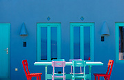Colourful Patio - The homes and hidden alleyways of Santorini are awash in colour, almost in an overdose of opportunity... Zooming in to keep things at their most simple, provides a pleasing balance in colour and form.<br /> <br /> f 13 @ 1/160 s, 640 ISO<br /> 70.0-200.0 mm f/2.8 at 82 mm on NIKON D850