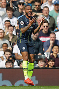Manchester City midfielder Raheem Sterling (7) protests after he thinks he was fouled during the Premier League match between Fulham and Manchester City at Craven Cottage, London, England on 30 March 2019.