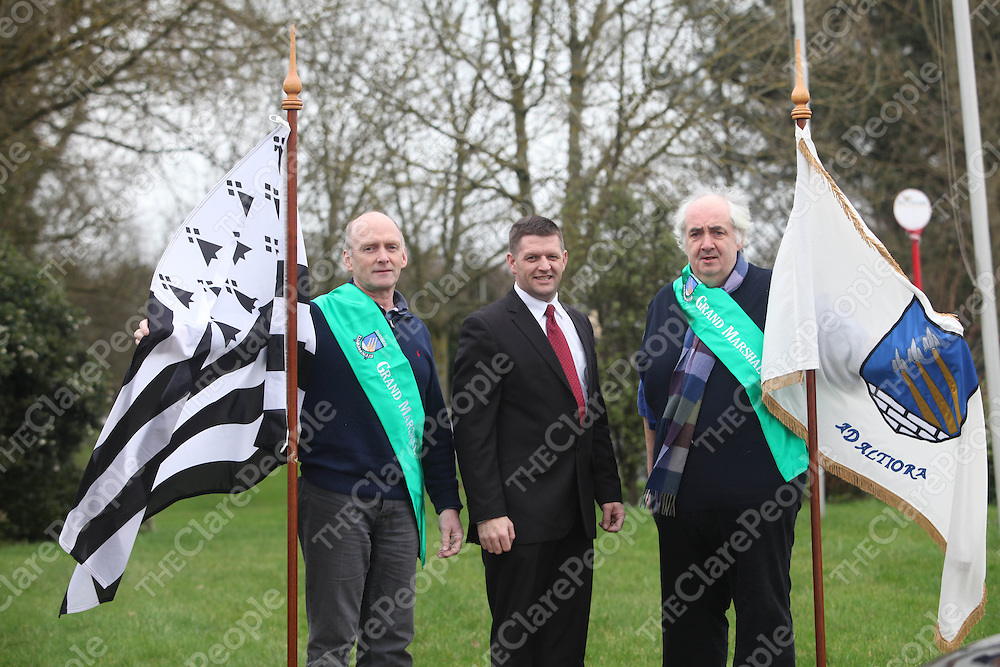 John O Brien, Mike Fleming and Pat Costello pictured at the Launch of the St Patricks Day Parade in Shannon on Monday.<br /> Pic. Brian Arthur/ Press 22.