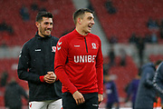 Middlesbrough forward Jordan Hugill (11)  warming up  during the EFL Sky Bet Championship match between Middlesbrough and Derby County at the Riverside Stadium, Middlesbrough, England on 27 October 2018.