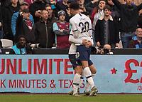 Football - 2019 / 2020 Premier League - West Ham United vs. Tottenham Hotspur<br /> <br /> Heung-Min Son (Tottenham FC)  and Dele Alli (Tottenham FC)  celebrate as Tottenham take a 2-0 lead at the London Stadium<br /> <br /> COLORSPORT/DANIEL BEARHAM