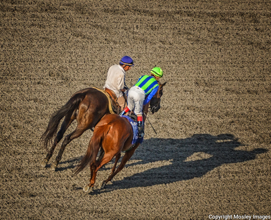 Pre-Race Conversation Del Mar racetrack Jockey and Outrider. Photo by Mosley Sports Images.