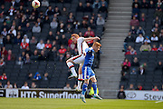 MK Dons defender Dean Lewington  clears the ball during the Sky Bet Championship match between Milton Keynes Dons and Brentford at stadium:mk, Milton Keynes, England on 23 April 2016. Photo by Dennis Goodwin.
