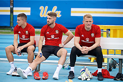LOS ANGELES, USA - Saturday, May 26, 2018: Wales' Declan John, Tom Bradshaw and goalkeeper Adam Davies during a training session at the UCLA Drake Track and Field Stadium ahead of the International friendly match against Mexico. (Pic by David Rawcliffe/Propaganda)
