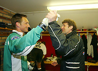 Fotball, 26. april 2003, Tippeligaen, Sogndal-Tromsø 3-1. Sogndal-keeper Terje Skjeldestad og trener Jan Halvor Halvorsen, Sogndal