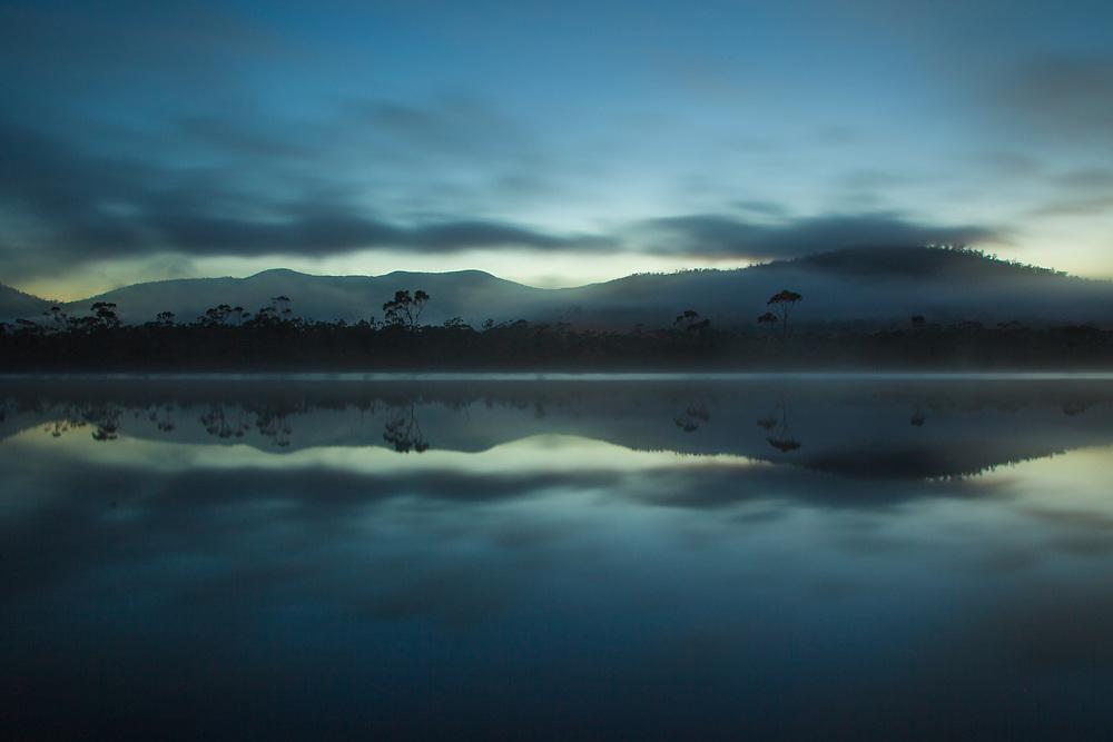 Morning mist on the Huon River, Tasmania. Photo by Lorenz Berna