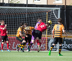 Brechin City's Paul McLean scoring their second goal. Athletic 4 v 3 Brechin City (Brechin won 5-4 on penalties), Ladbrokes Championship Play-Off 2nd Leg at Alloa Athletic's home ground, Recreation Park, Alloa.