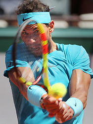 June 7, 2018 - Paris, France - RAFAEL NADAL of Spain plays against Schwartzman of Argentina during their quarter final match of the French Tennis Open 2018 at Roland Garros. Nadal won  4-6, 6-3, 6-2,6-2. (Credit Image: © Maya Vidon-White via ZUMA Wire)