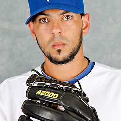 March 2, 2012; Dunedin, FL, USA; Toronto Blue Jays relief pitcher Carlos Villanueva (33) poses for a portrait during photo day at Florida Auto Exchange Stadium.  Mandatory Credit: Derick E. Hingle-US PRESSWIRE