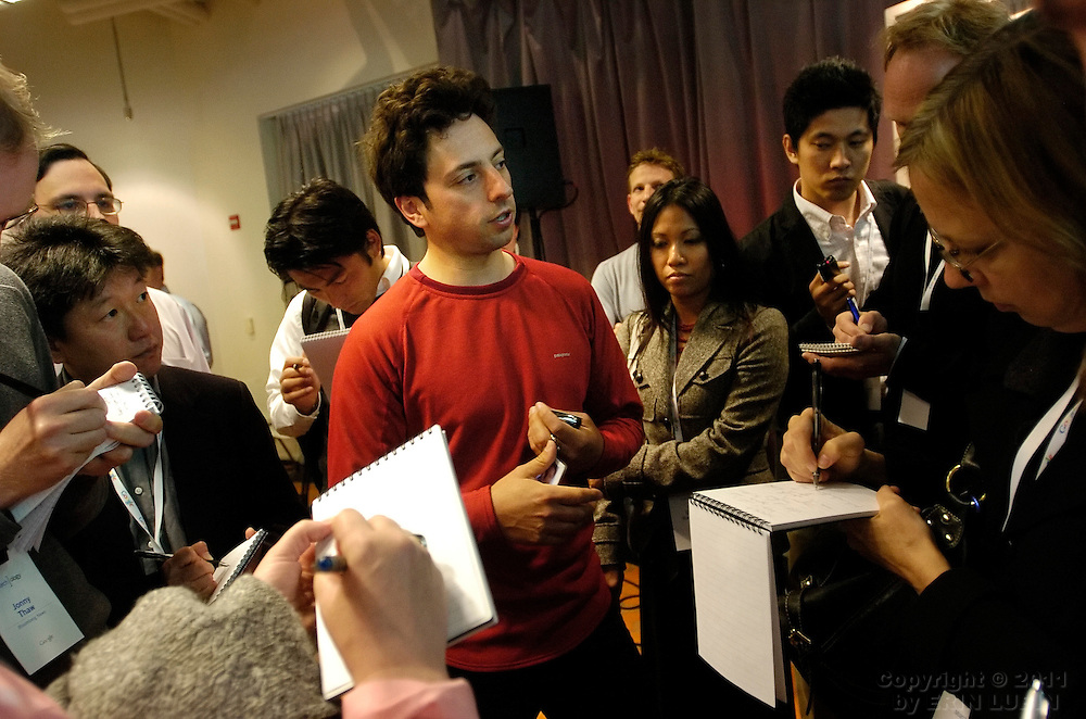 Google Inc. Co-founder Sergey Brin, answers questions from members of the press after Seachology, an informal discussion about all things search, at Google Inc. headquarters in Mountain View, Calif., on Wednesday, May 16, 2007. ...PHOTOGRAPHER: Erin Lubin/Bloomberg News.