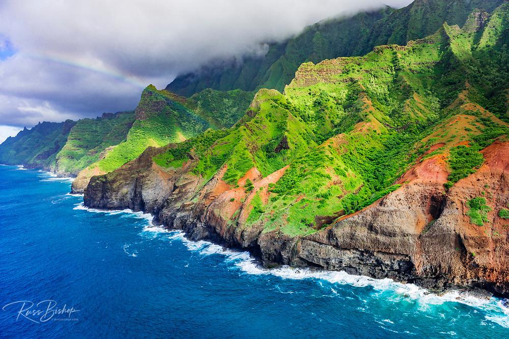 Afternoon light on the Na Pali Coast (aerial), Napali Coast Wilderness State Park, Kauai, Hawaii USA