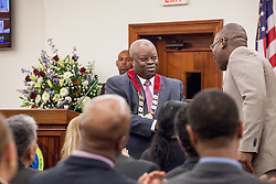 Governor Mapp shakes hands with Human Services Regional Progam Manager Alphonso F. Nicholas during his address.  Governor Kenneth E. Mapp delivers the State of the Territory Address at the Earle B. Otlley Legislative Chambers.  St. Thomas, USVI.  30 January 2017.  © Aisha-Zakiya Boyd