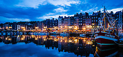 Evening in summer at the harbour in Honfleur, Normandy, France