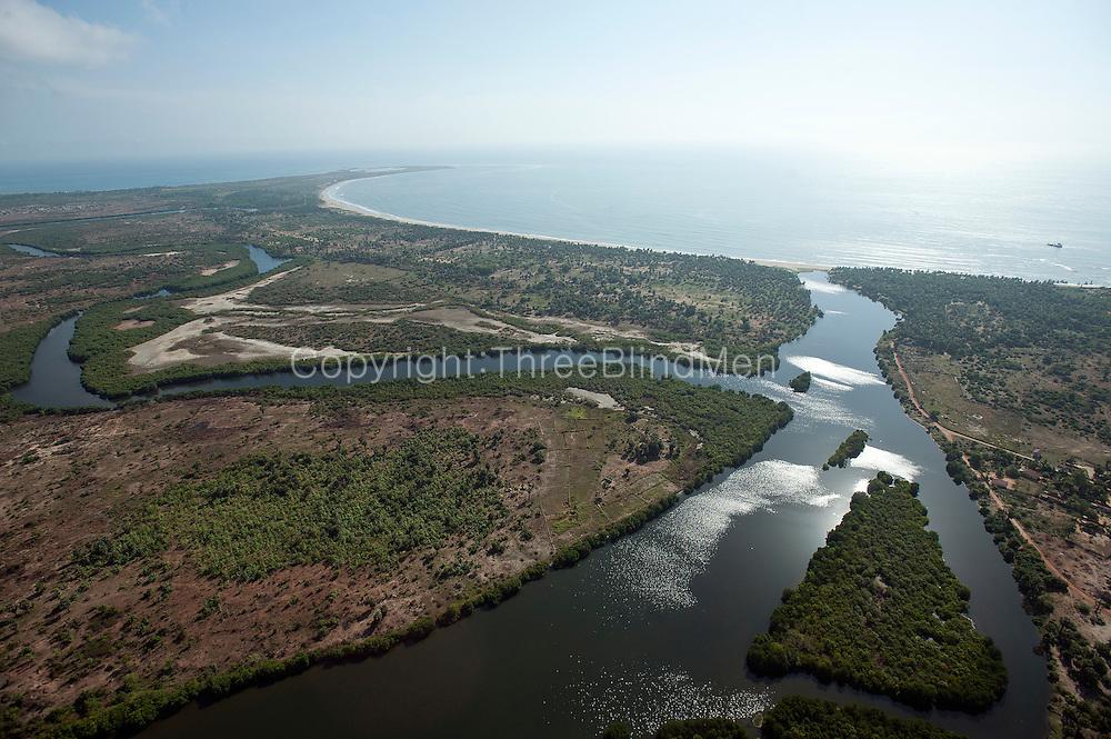 Aerial view of lagoon and East Coast near Valachchenai.