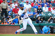 March 29, 2018 - Arlington, TX, U.S. - ARLINGTON, TX - MARCH 29: Texas Rangers right fielder Nomar Mazara (30) swings at a baseball during the game between the Texas Rangers and the Houston Astros on March 29, 2018 at Globe Life Park in Arlington, Texas. Houston defeats Texas 4-1. (Photo by Matthew Pearce/Icon Sportswire) (Credit Image: © Matthew Pearce/Icon SMI via ZUMA Press)