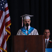 Conrad Schools of Science graduate and class president Bryce Fender addresses students and family during Conrad commencement exercises Saturday, June 06, 2015, at The Bob Carpenter Sports Convocation Center in Newark, Delaware.