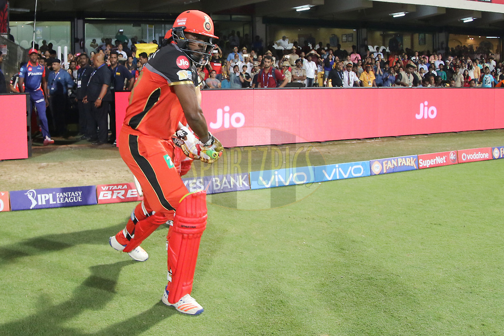 Royal Challengers Bangalore openers entering the field during match 5 of the Vivo 2017 Indian Premier League between the Royal Challengers Bangalore and the Delhi Daredevils held at the M.Chinnaswamy Stadium in Bangalore, India on the 8th April 2017<br /> <br /> Photo by Faheem Hussain - IPL - Sportzpics