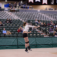 4th year middle blocker Kathleen Ens (8) of the Regina Cougars in action during Women's Volleyball home game on February 2 at Centre for Kinesiology, Health and Sport. Credit: Arthur Ward/Arthur Images