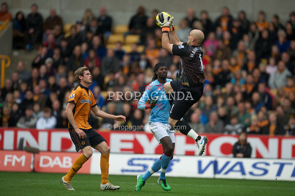 WOLVERHAMPTON, ENGLAND - Saturday, October 30, 2010: Manchester City's Emmanuel Adebayor is thwarted by Wolverhampton Wanderers' goalkeeper Marcus Hahnemann during the Premiership match at Molineux. (Pic by: David Rawcliffe/Propaganda)