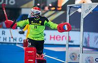 BHUBANESWAR, INDIA -  keeper Pirmin Blaak (Ned)   na de verloren shoot outs na  de  finale tussen België en Nederland (0-0)  bij het WK Hockey heren in het Kalinga Stadion. Belgie wint de shoot outs .COPYRIGHT KOEN SUYK